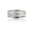 Men's Antique Style 14k White Gold Comfort Fit Wedding Band Ring