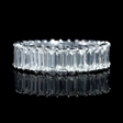 3.54ct Diamond Platinum Emerald Shaped Eternity Wedding Band Ring