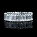 Diamond Platinum Emerald Shaped Eternity Wedding Band Ring
