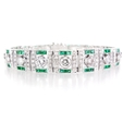 5.35ct Diamond and Emerald Antique Style 18k White Gold Bracelet