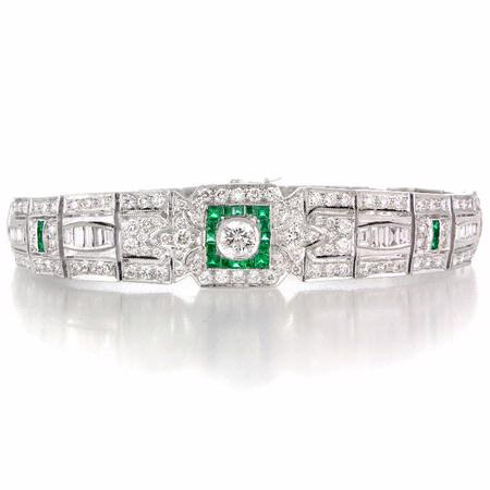Diamond and Emerald Antique Style 18k White Gold Bracelet