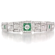 4.55ct Diamond and Emerald Antique Style 18k White Gold Bracelet