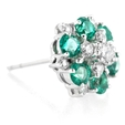 .53ct Diamond and Emerald 18k White Gold Cluster Earrings