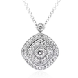 .30ct Simon G Diamond Antique Style 18k White Gold Pendant Necklace