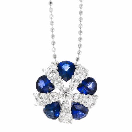 .72ct Diamond and Blue Sapphire 18k White Gold Pendant