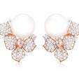 2.09ct Diamond and Pearl 18k Rose Gold Flower Earrings
