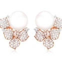 Diamond and Pearl 18k Rose Gold Flower Earrings