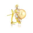 3.09ct Diamond and South Sea Pearl 18k Yellow Gold Earrings
