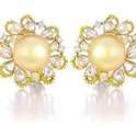 Diamond and Pearl 18k Yellow Gold Earrings