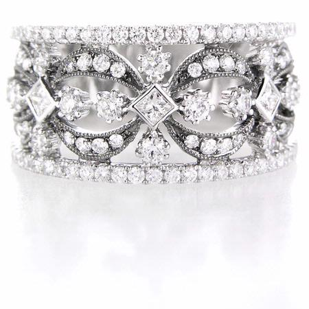 Diamond Antique Style 18k White Gold and Black Rhodium Wedding Band Ring
