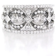 1.03ct Diamond Antique Style 18k White Gold Wedding Band Ring