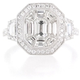 2.72ct Diamond Antique Style 18k White Gold Ring