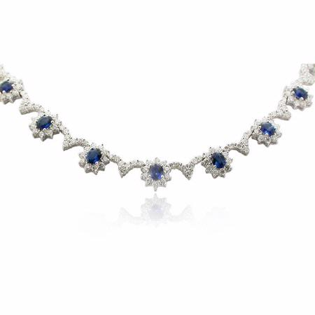 Diamond & Blue Sapphire 18k White Gold Necklace