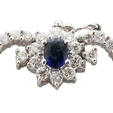 10.94ct Diamond & Blue Sapphire 18k White Gold Necklace