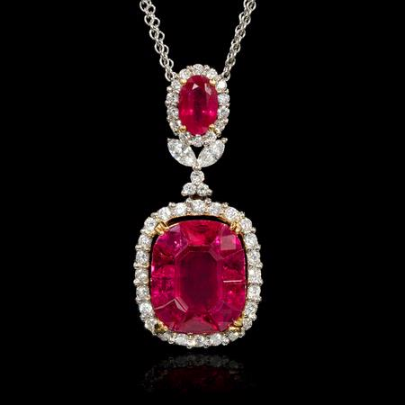 Diamond and Ruby 18k Two Tone Gold Pendant Necklace