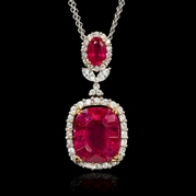 Ruby pendants ruby pendant necklaces diamond and ruby 18k two tone gold pendant necklace aloadofball Gallery