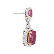 .92ct Diamond and Ruby 18k Two Tone Gold Dangle Earrings