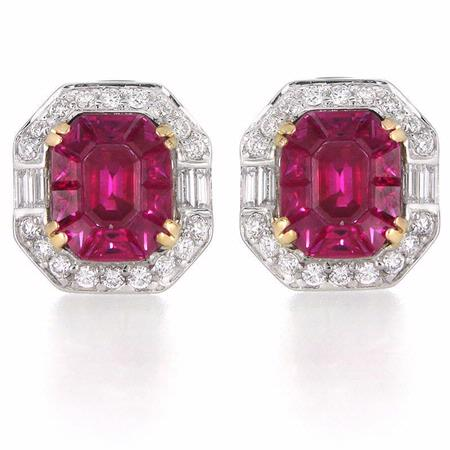 Diamond and Ruby 18k Two Tone Gold Earrings