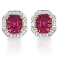 .86ct Diamond and Ruby 18k Two Tone Gold Earrings