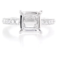 1.36ct Diamond Antique Style 18k White Gold Engagement Ring Setting
