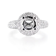 1.35ct Diamond Antique Style Platinum Halo Engagement Ring Setting