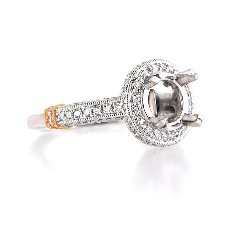 71ct Diamond Antique Style Platinum And 18k Rose Gold Halo Engagement Ring Setting