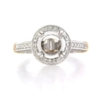 .71ct Diamond Antique Style Platinum and 18k Rose Gold Halo Engagement Ring Setting