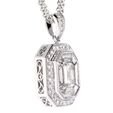 1.75ct Diamond Antique Style 18k White Gold Pendant Necklace