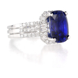 .76ct Diamond and Blue Sapphire 18k White Gold Ring