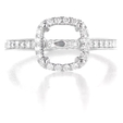 .71ct Diamond Antique Style 18k White Gold Halo Engagement Ring Setting