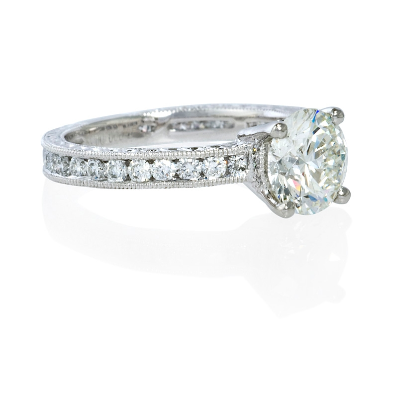 63ct antique style platinum engagement ring setting