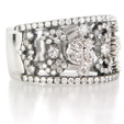 1.10ct Diamond 18k White Gold and Black Rhodium Wedding Band Ring