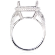 .74ct Diamond Antique Style 18k White Gold Halo Engagement Ring Setting