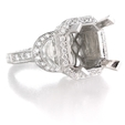 1.85ct Diamond Antique Style 18k White Gold Halo Engagement Ring Setting
