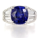 Diamond and Blue Sapphire Antique Style 18k White Gold Ring
