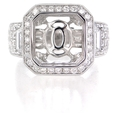 1.57ct Diamond Antique Style 18k White Gold Halo Engagement Ring Setting