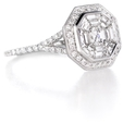 1.22ct Diamond Antique Style 18k White Gold Ring