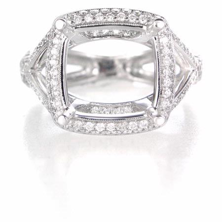 Diamond Antique Style 18k White Gold Halo Engagement Ring Setting