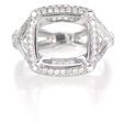 1.34ct Diamond Antique Style 18k White Gold Halo Engagement Ring Setting