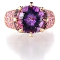 Le Vian Amethyst 14k Rose gold and Black Rhodium Ring