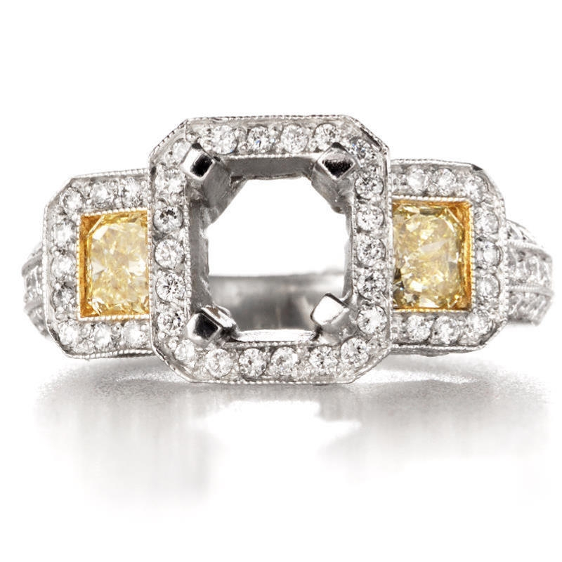 1 62ct Diamond Platinum and 18k Yellow Gold Antique Style Halo Engagement Rin