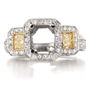 Diamond Platinum and 18k Yellow Gold Antique Style Halo Engagement Ring Setting