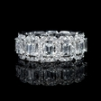 3.68ct Diamond Emerald and Round Brilliant Cut 18k White Gold  Eternity Wedding Band Ring
