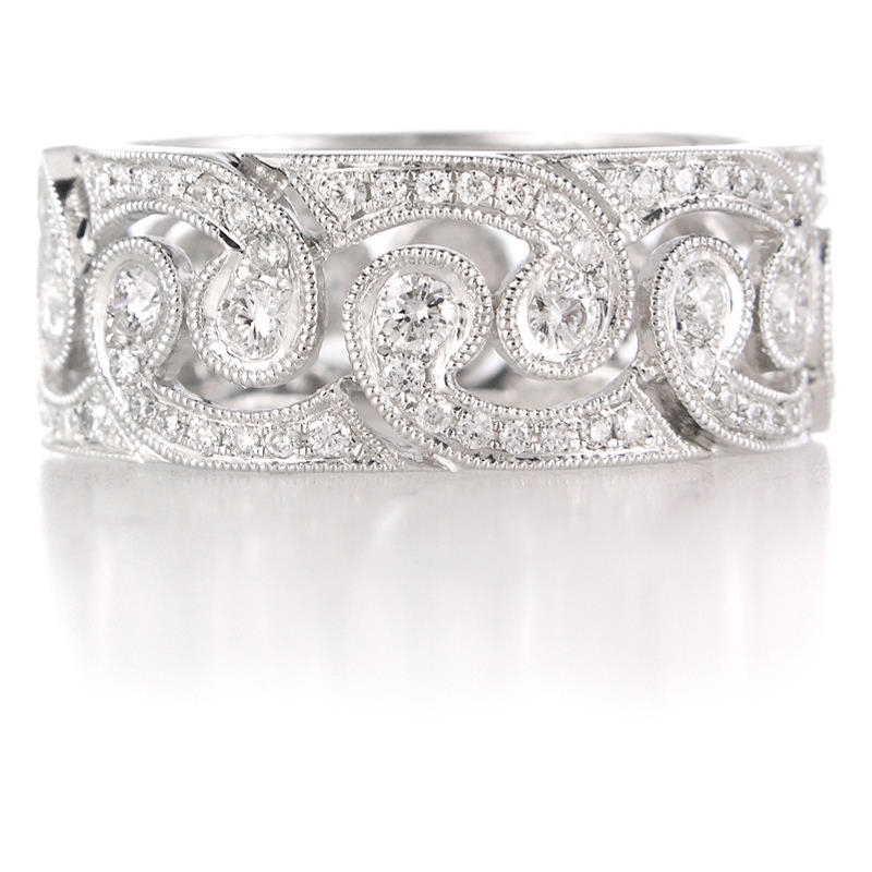 94ct Diamond Antique Style 18k White Gold Eternity Wedding Band Ring