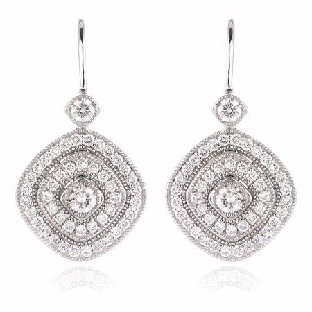 Simon G Diamond Antique Style 18k White Gold Dangle Earrings