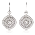 .60ct Simon G Diamond Antique Style 18k White Gold Dangle Earrings