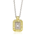 .25ct Simon G Diamond Antique Style 18k Two Tone Gold Pendant Necklace