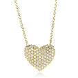 .54ct Simon G Diamond 18k Yellow Gold Heart Pendant Necklace