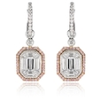 2.45ct Simon G Diamond Antique Style 18k Two Tone Gold Earrings