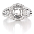 .95ct Simon G Diamond 18k White Gold Halo Engagement Ring Setting
